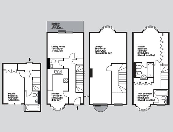 Cheval knightsbridge london apartment rental for Large townhouse floor plans