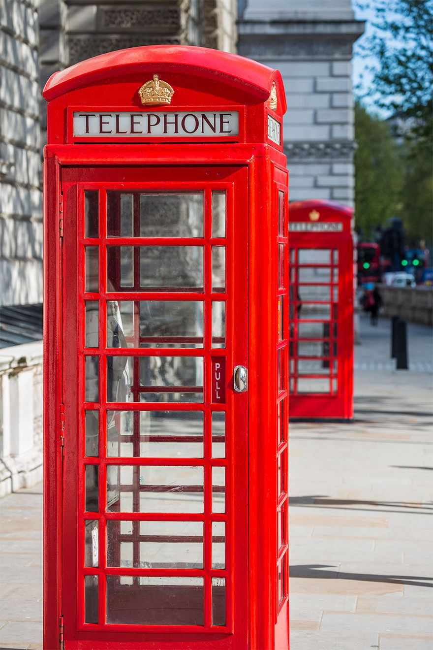 Iconic red phone booth in London
