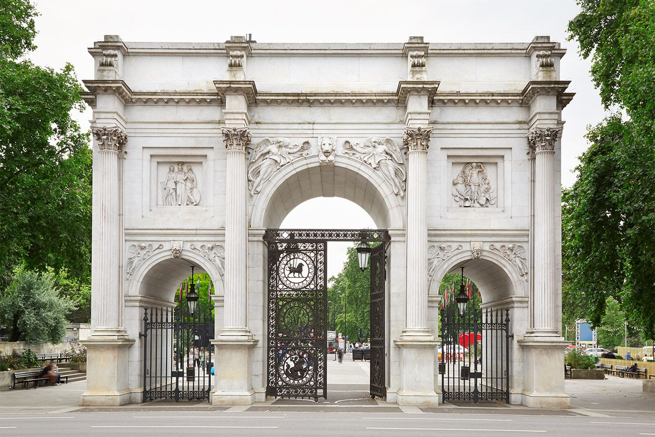Marble Arch at the end of Oxford street and close to Hyde Park