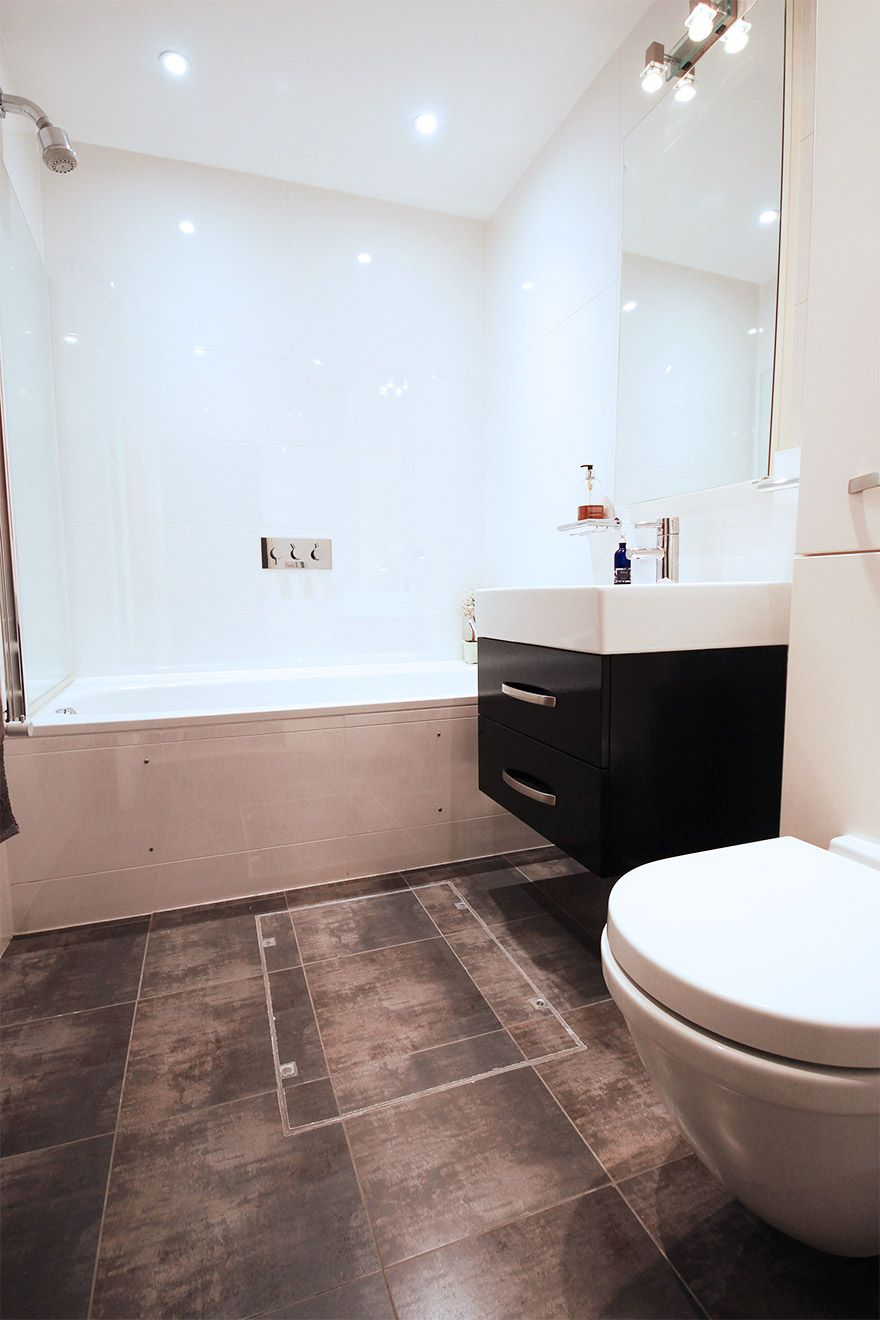 Full bathroom located on basement level of the Christchurch vacation rental