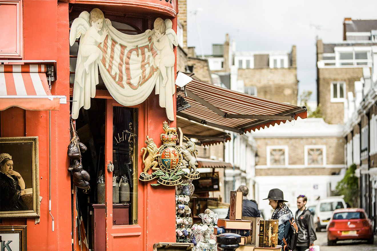 Antique store in Portobello Road market