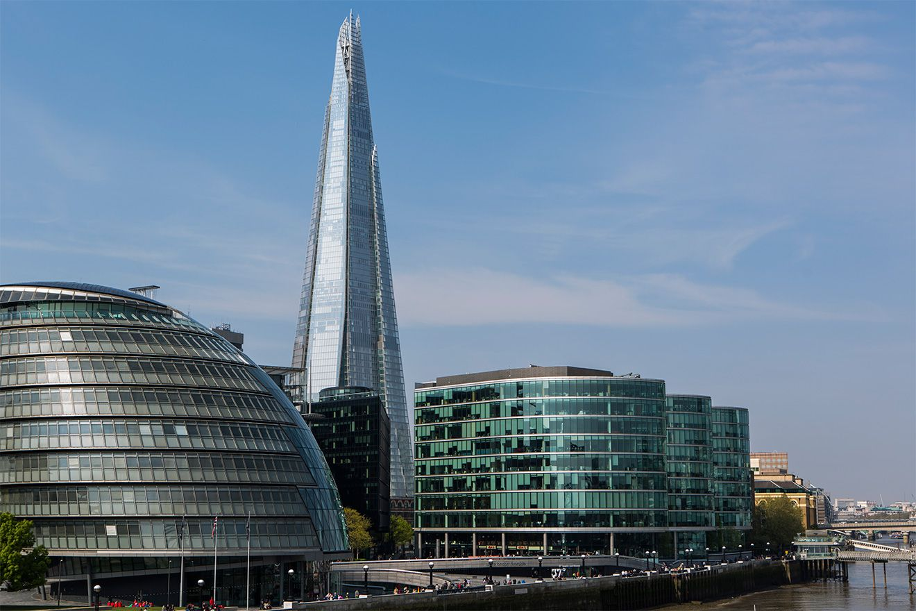 The Shard and The Scoop on the Thames river