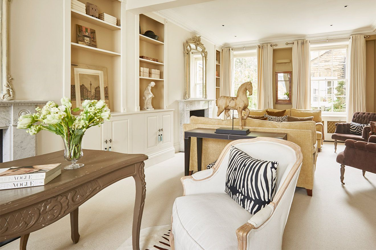 View from the desk towards the seating area of the Victoria rental offered by London Perfect