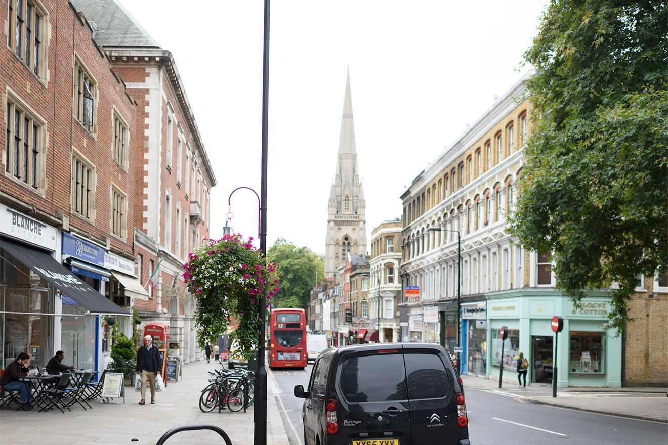 View down Kensington Church Street