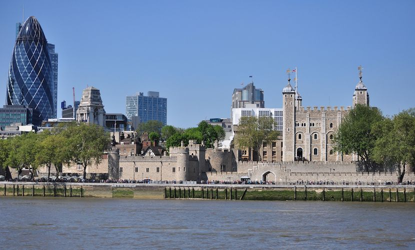 Tower of London along the banks of the Thames
