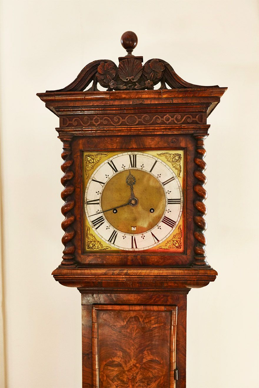 Antique grandfather clock in the living room of the Wellington rental offered by London Perfect