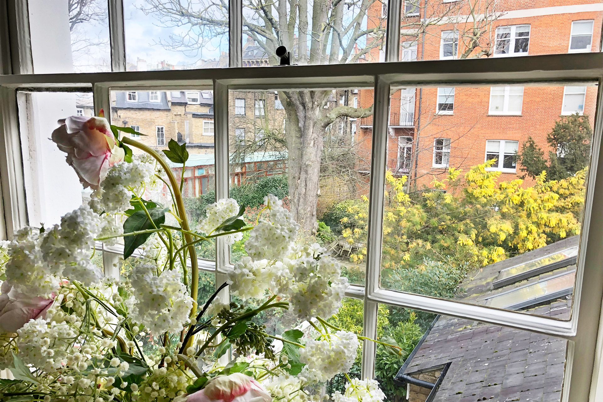 View of the garden from the second bedroom of the Victoria rental offered by London Perfect