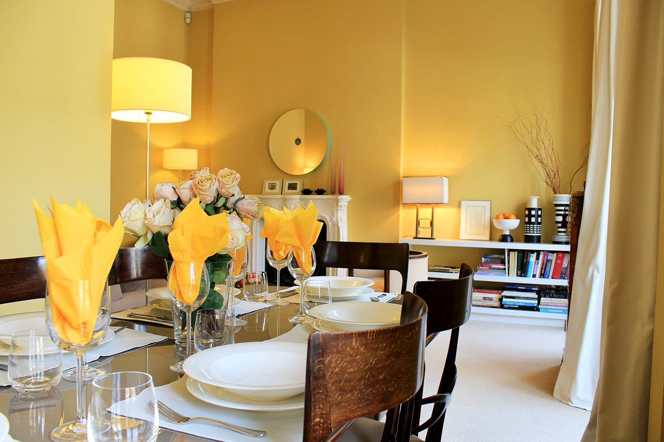 View from the dining table towards the living area in the Belgravia vacation rental