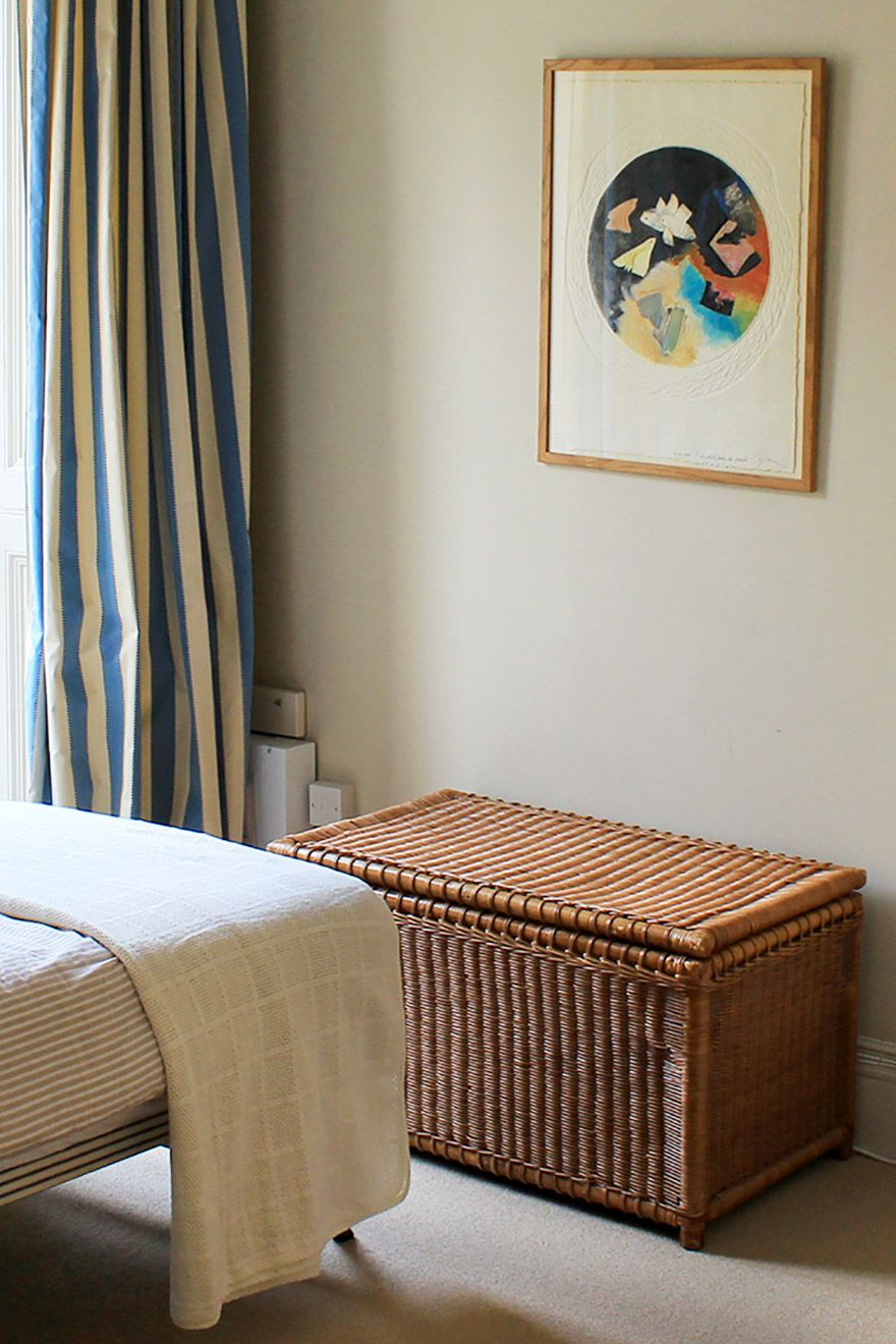 Wicker bin in the second bedroom of the Belgravia vacation rental offered by London Perfect