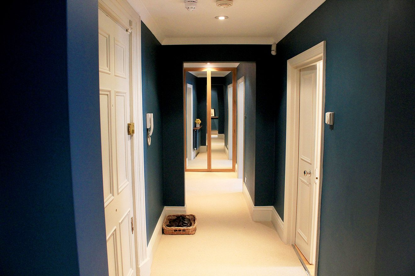 Gorgeous blue hallway in London apartment rental