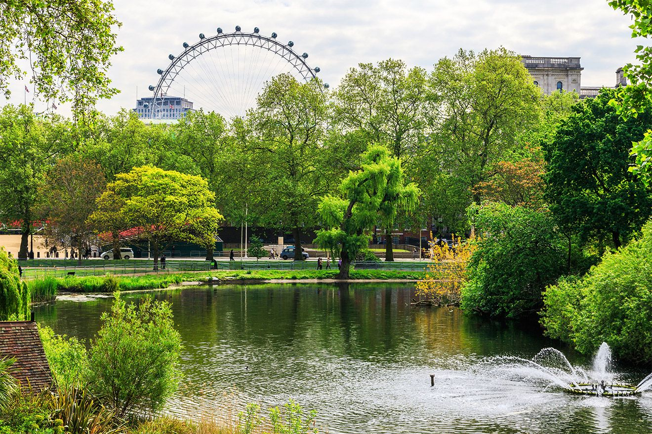 Saint James Park view of London Eye