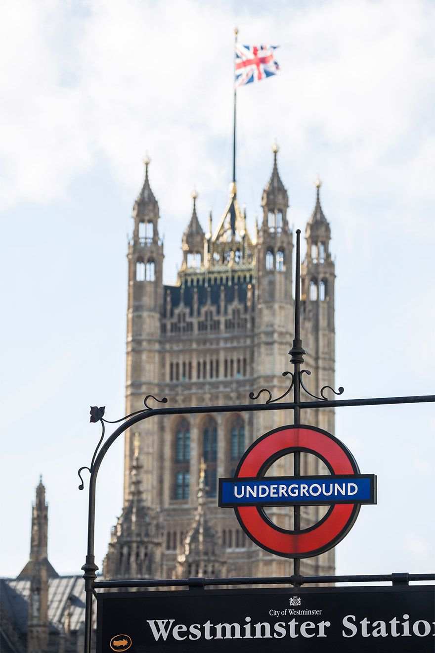 London Underground entrance at Westminster Abbey