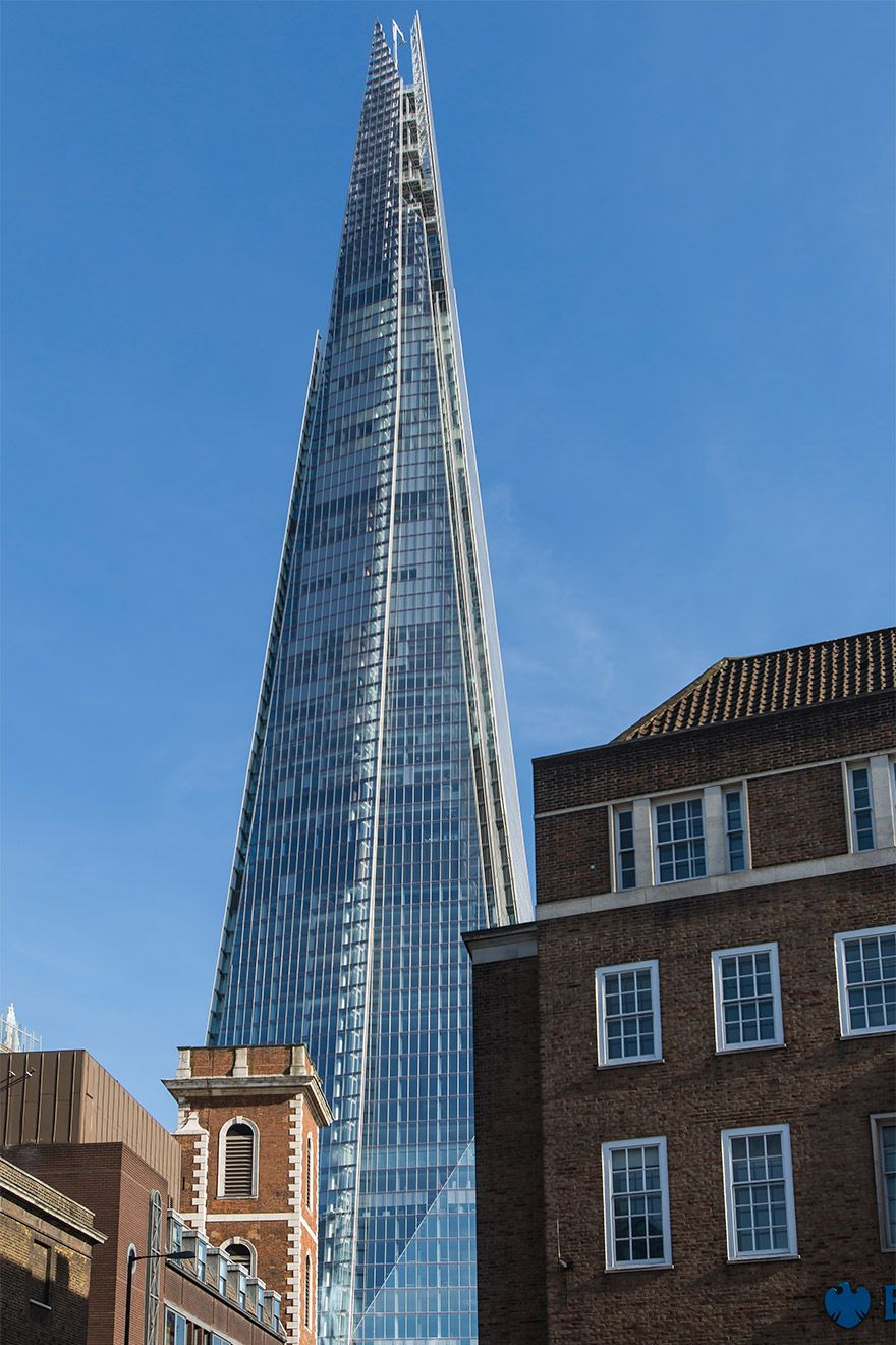 The London Shard soaring over the rooftops
