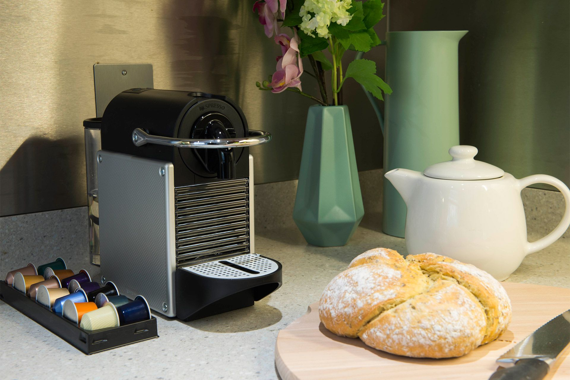 Nespresso machine in kitchen of the Eldon vacation rental offered by London Perfect