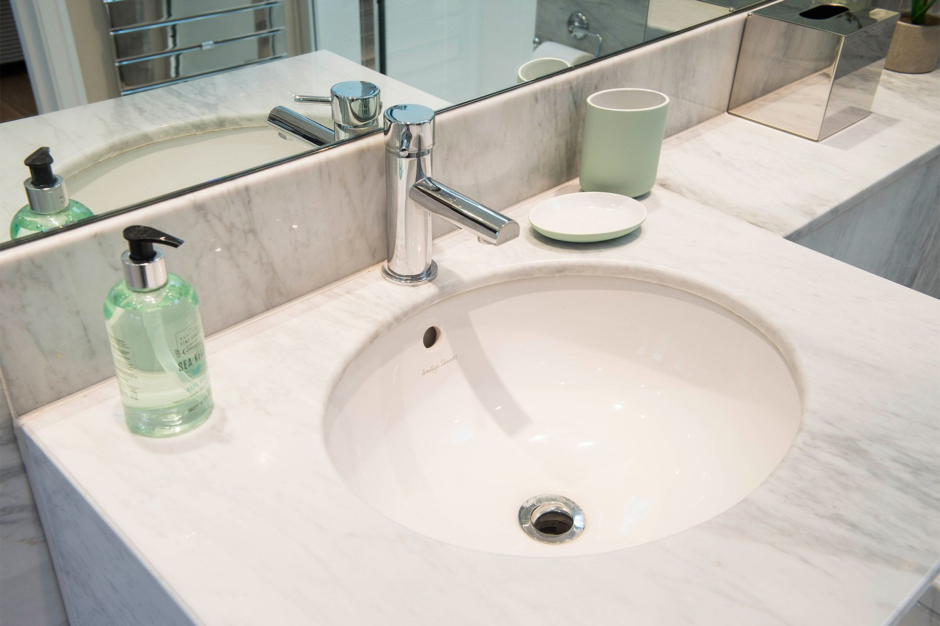 Stylish sink in the bathroom of the Eldon vacation rental offered by London Perfect