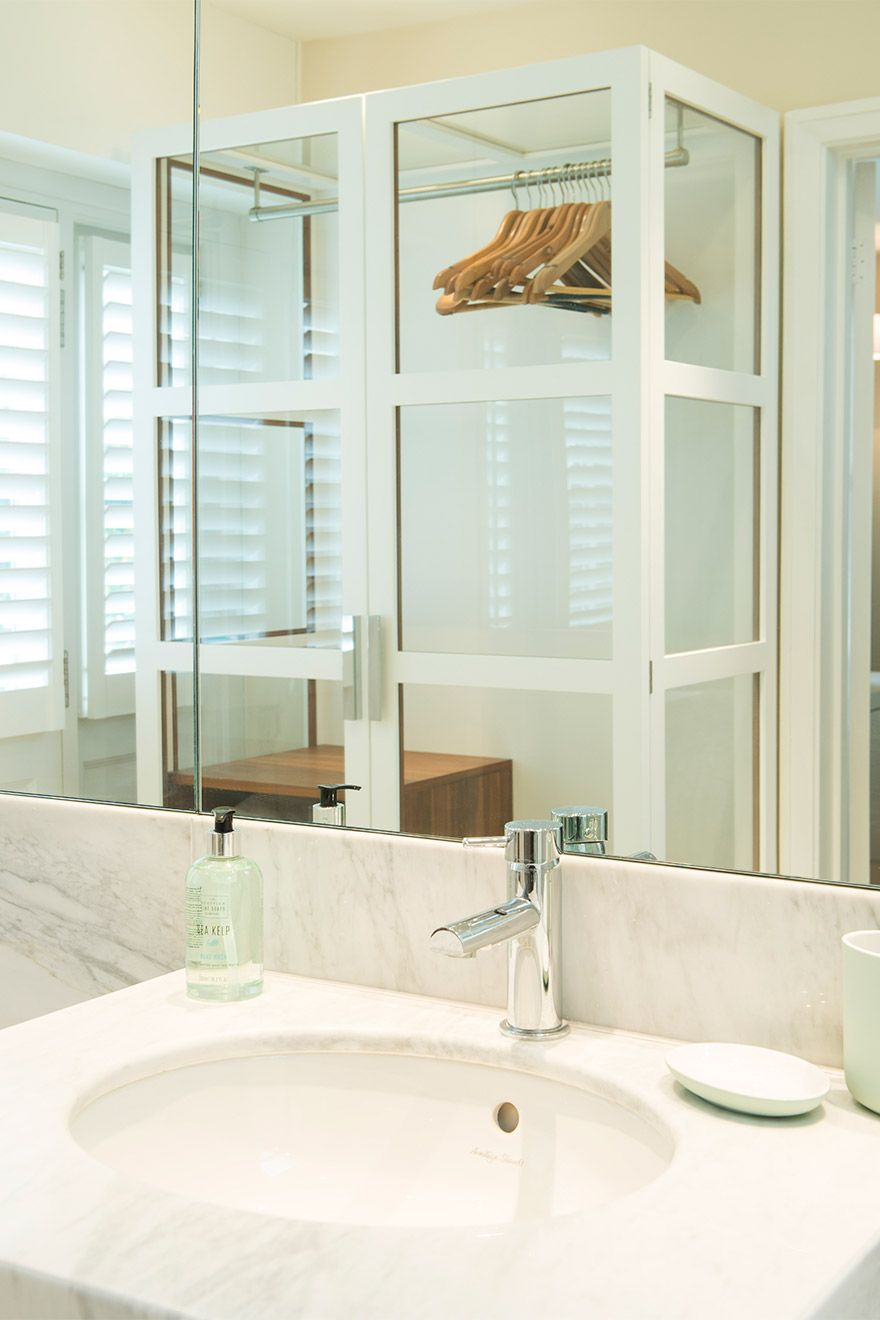 Glass closet in the bathroom of the Eldon vacation rental offered by London Perfect