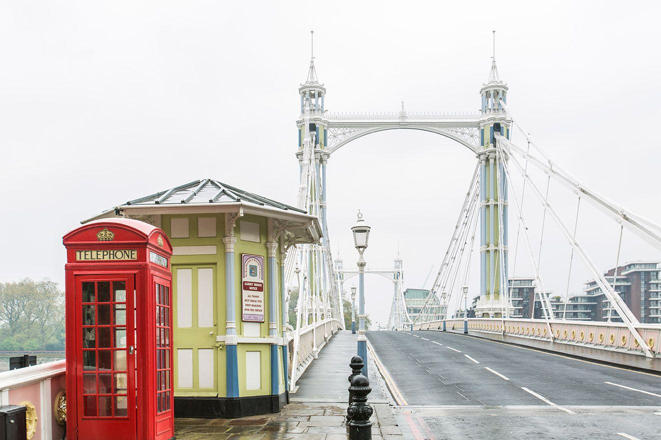 Classic red London phone booth at the Albert Bridge