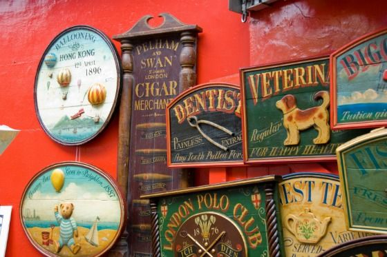 Vintage signs at the Portobello Market