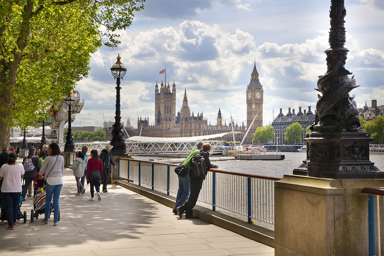 Stroll along the Thames to see the sights