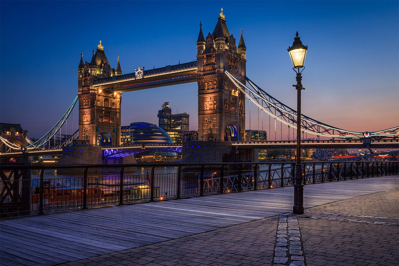 Tower Bridge at night in London