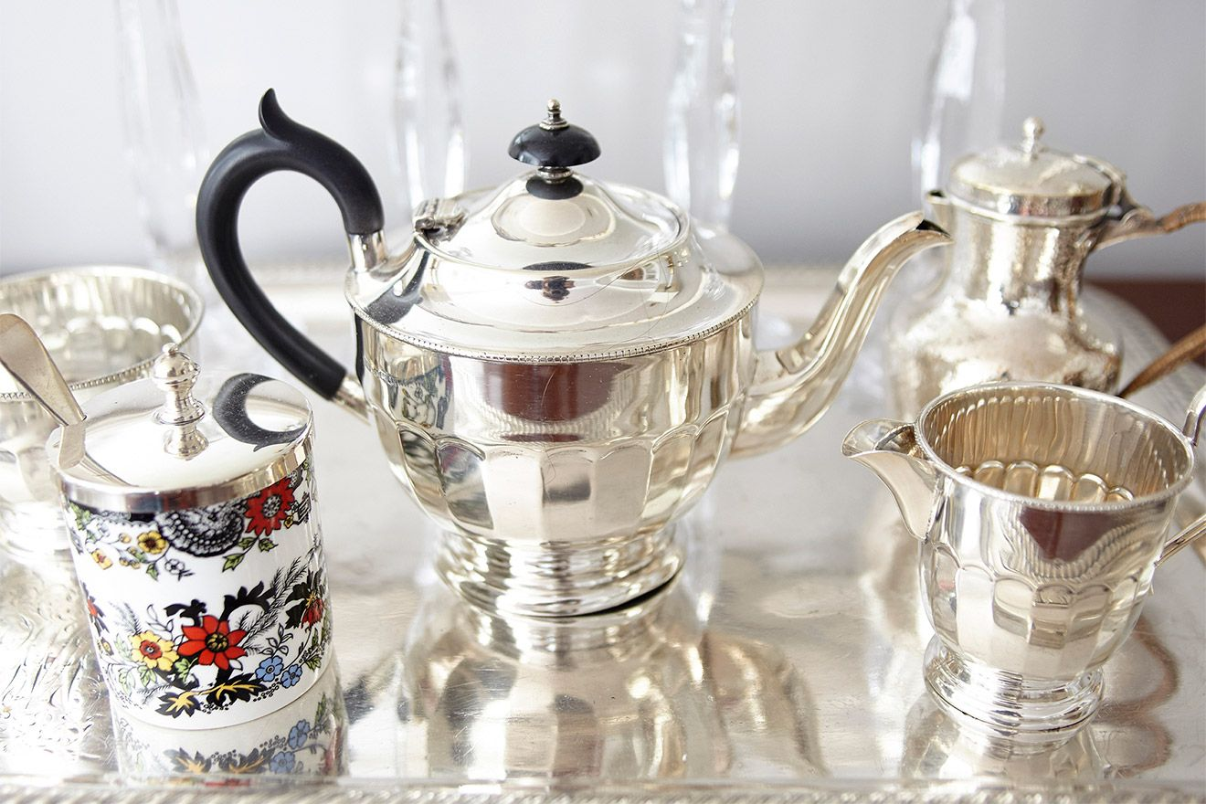 Silver tea set in the MacDonald vacation rental offered by London Perfect