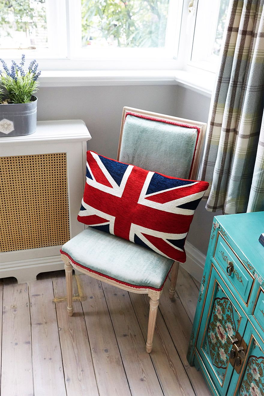 Union Jack Cushion on Chair in the MacDonald vacation rental offered by London Perfect