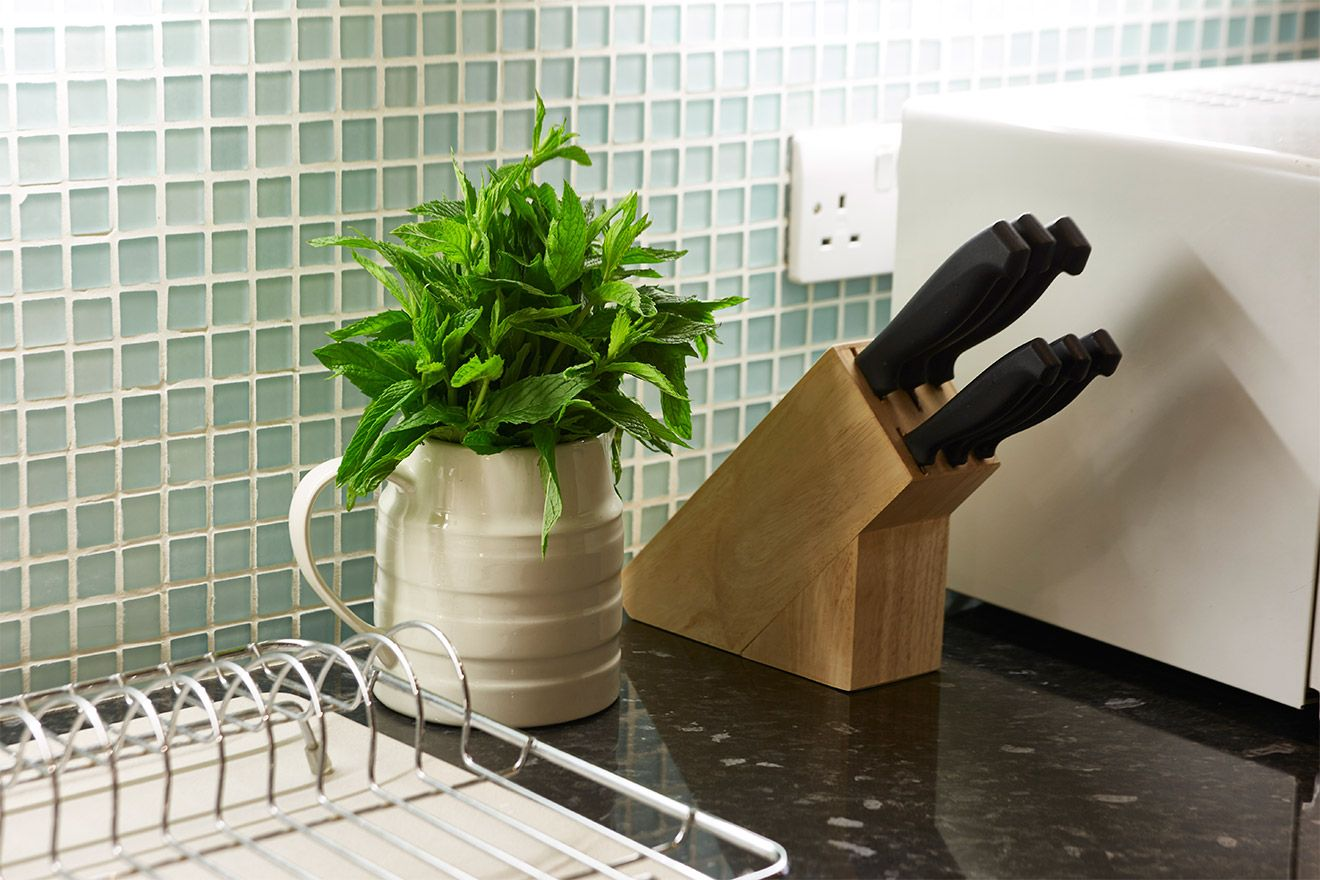 Fresh herbs in the kitchen of The Queensgate Studio Loft vacation rental offered by London Perfect