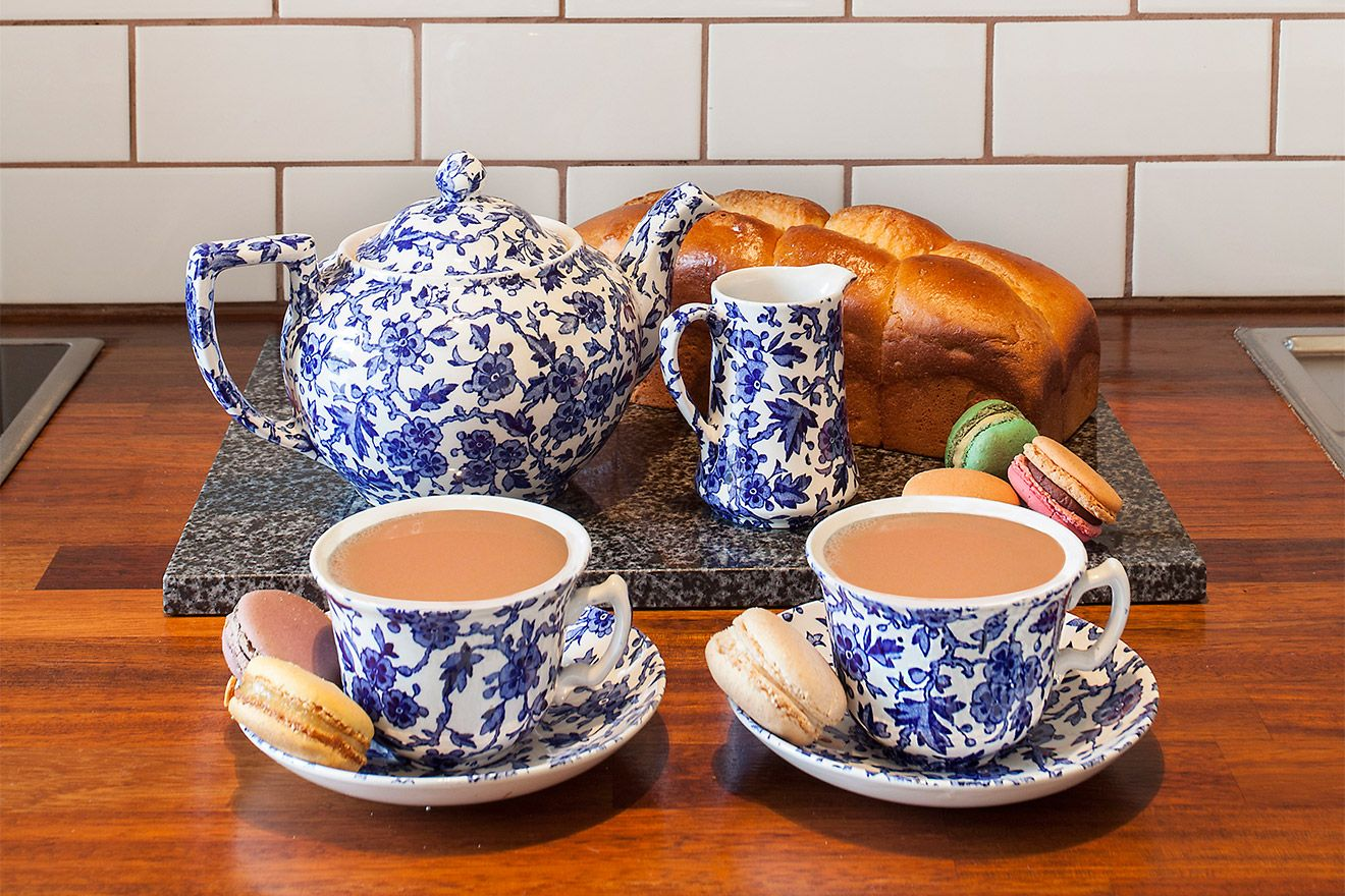 Traditional English tea set in vacation rental