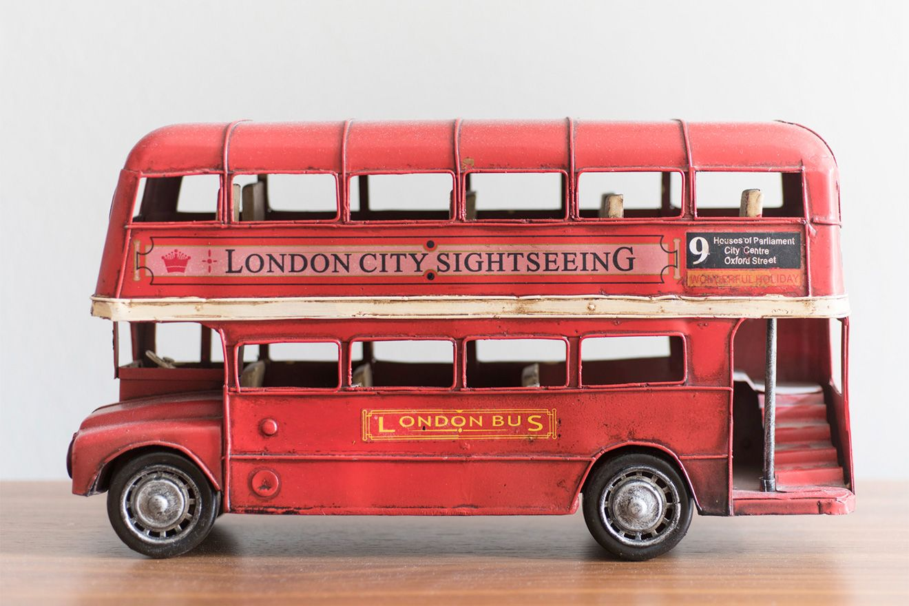 Ornament of classic red London bus in the Sloane vacation rental offered by London Perfect