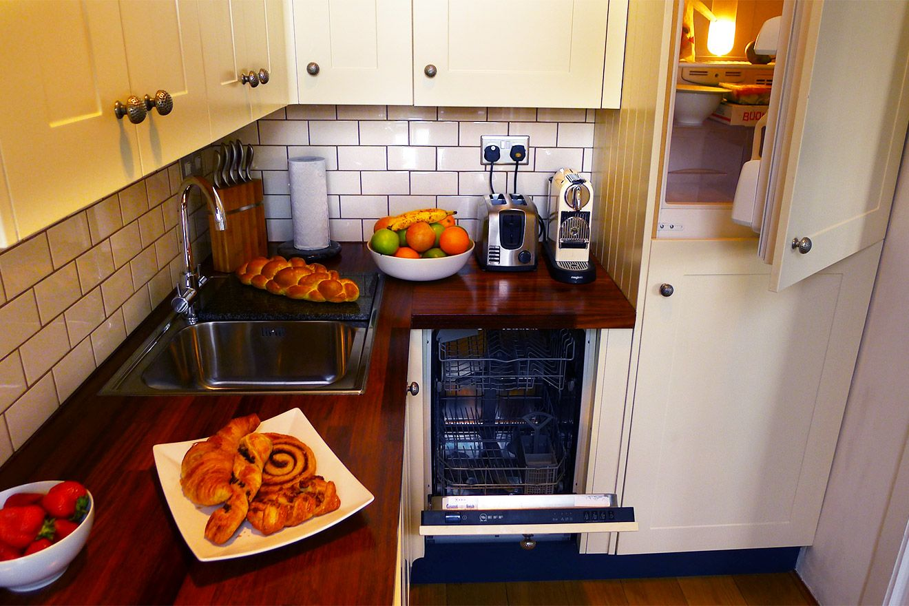 Hidden appliances provide a sleek kitchen setting in the Austen vacation rental
