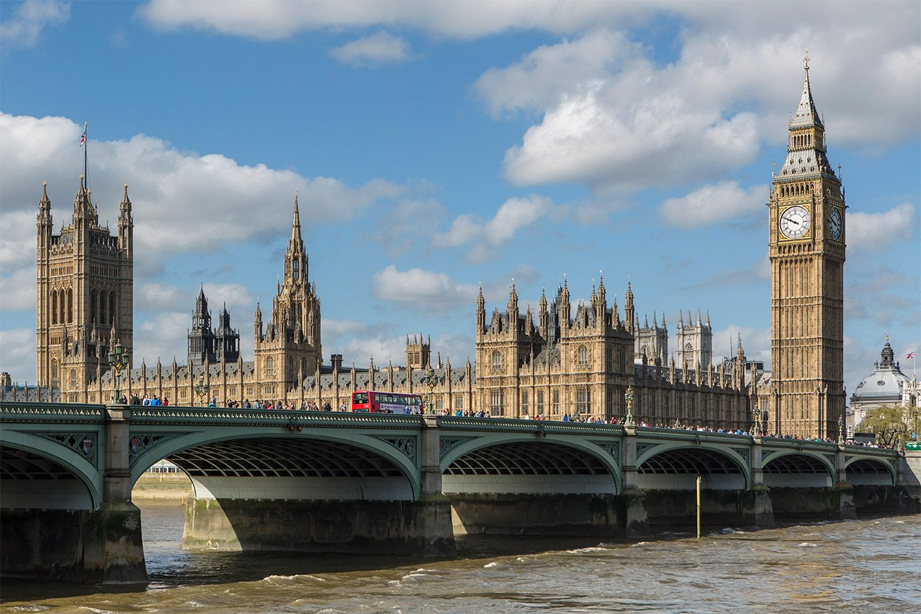 Houses of parliament in London on a sunny day
