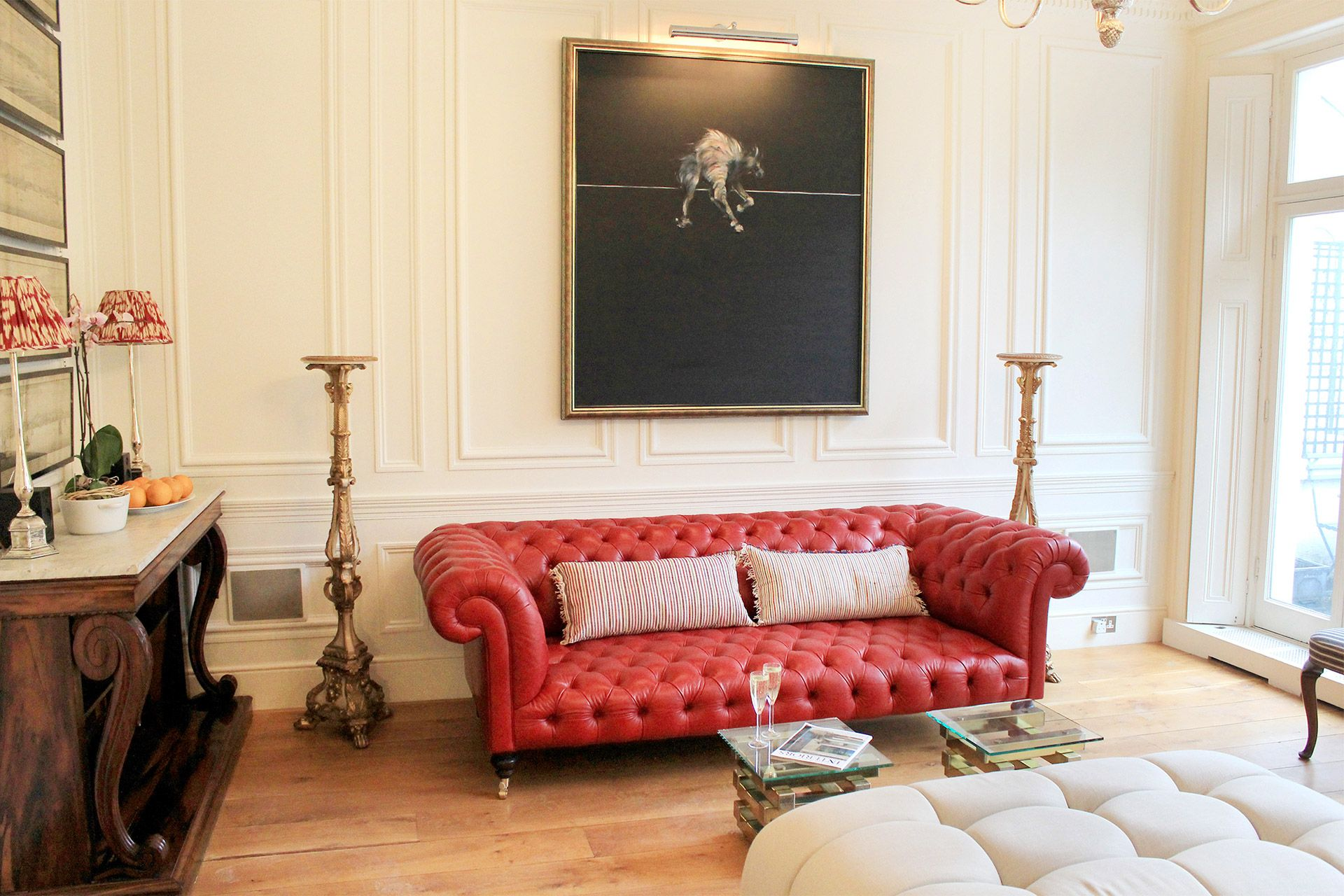 Beautiful red leather sofa in South Kensington vacation rental