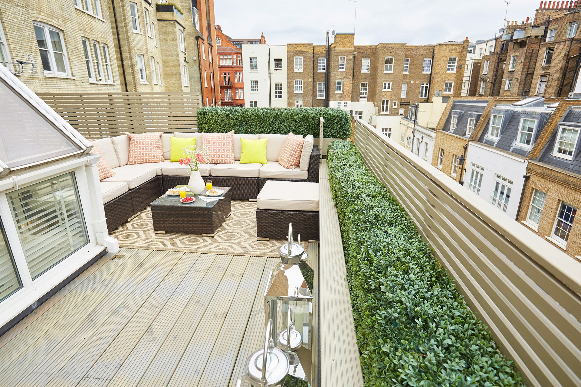 Expansive rooftop terrace of the Danebury vacation rental offered by London Perfect