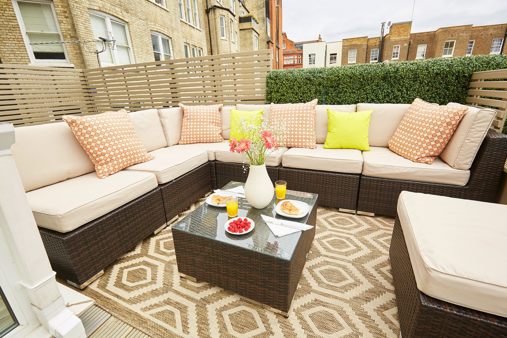 Comfortable seating on the terrace of the Danebury vacation rental offered by London Perfect