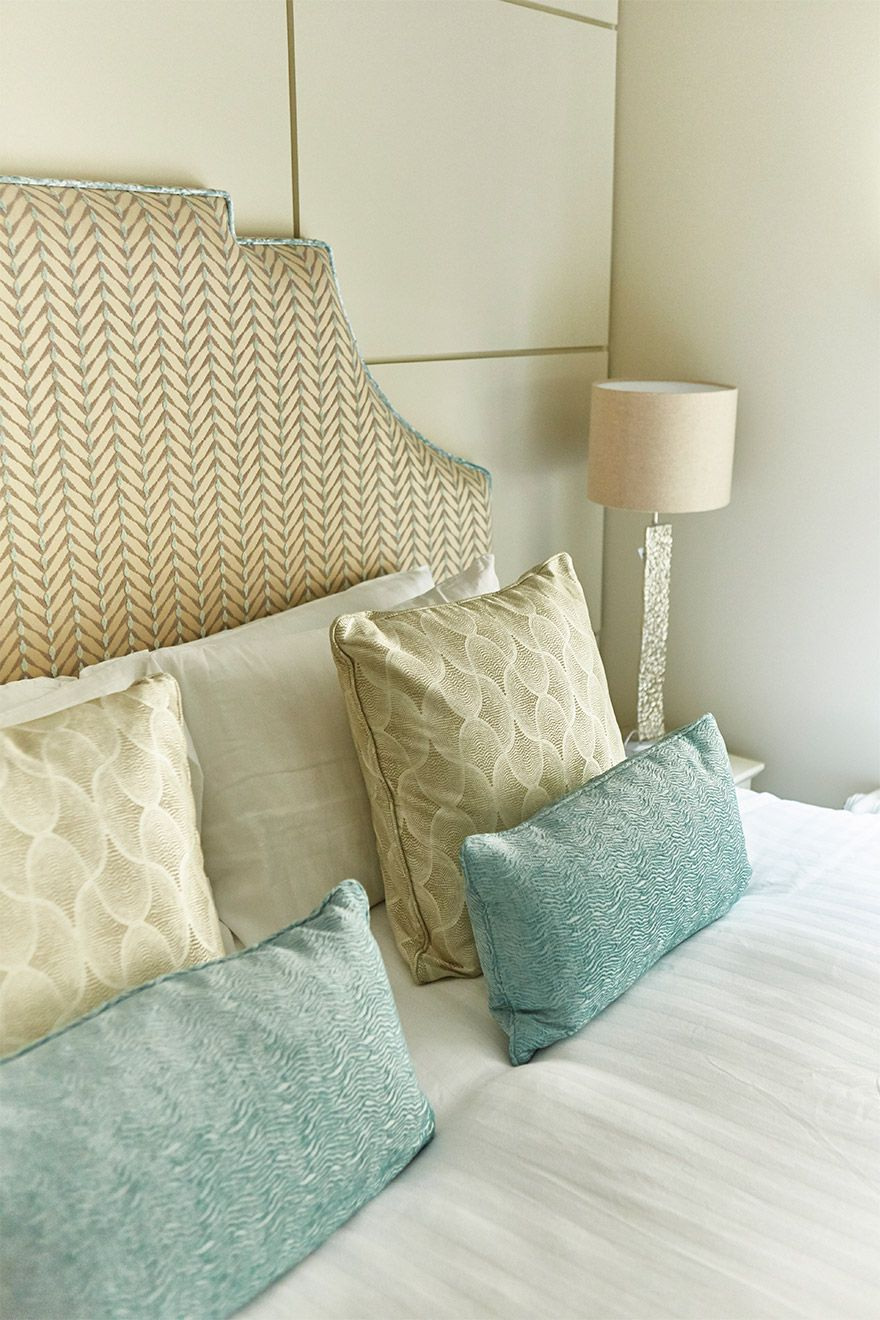 Stylish touches in the first bedroom of the Danebury vacation rental offered by London Perfect