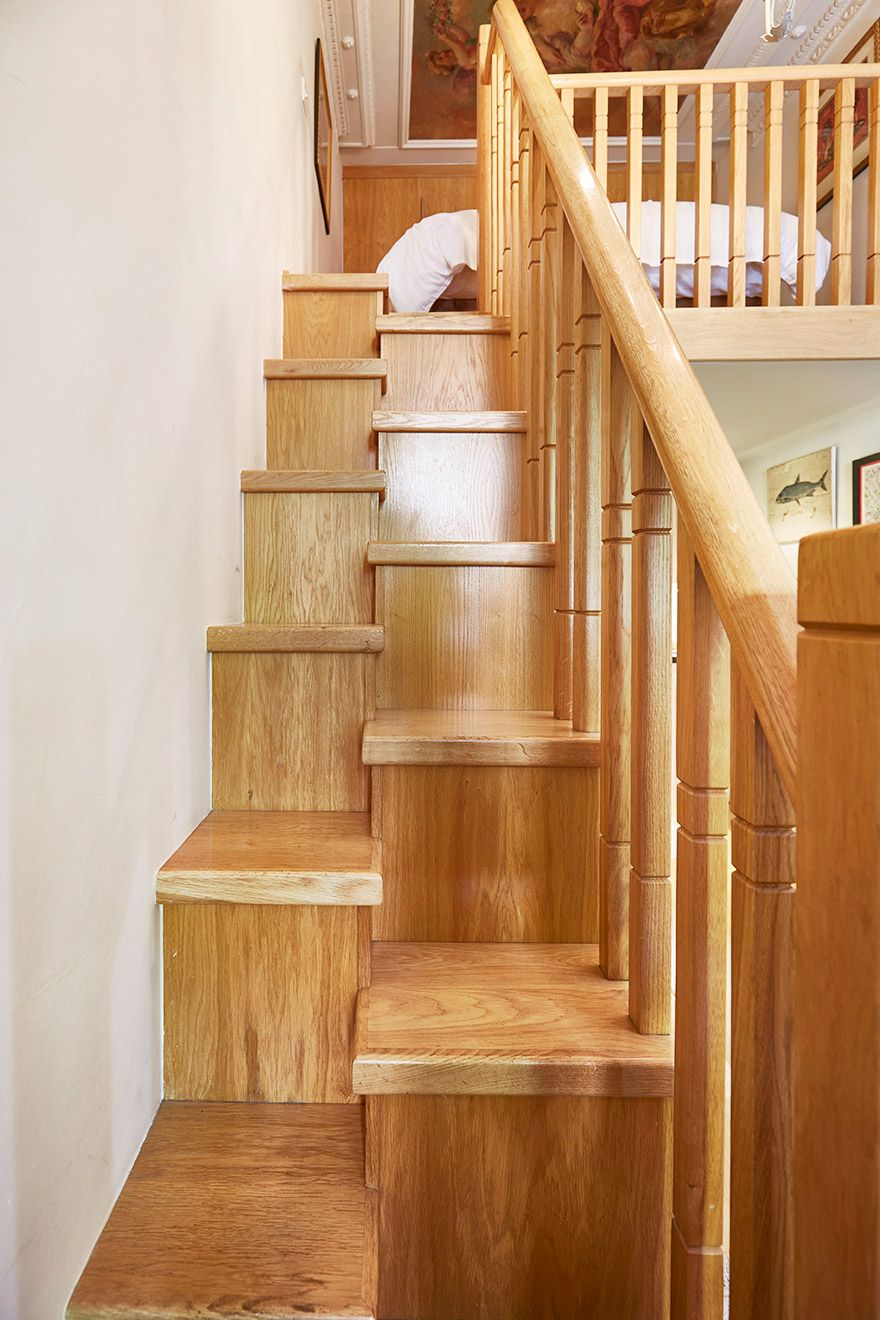 Cleverly designed staircase in The Queensgate Studio Loft vacation rental offered by London Perfect