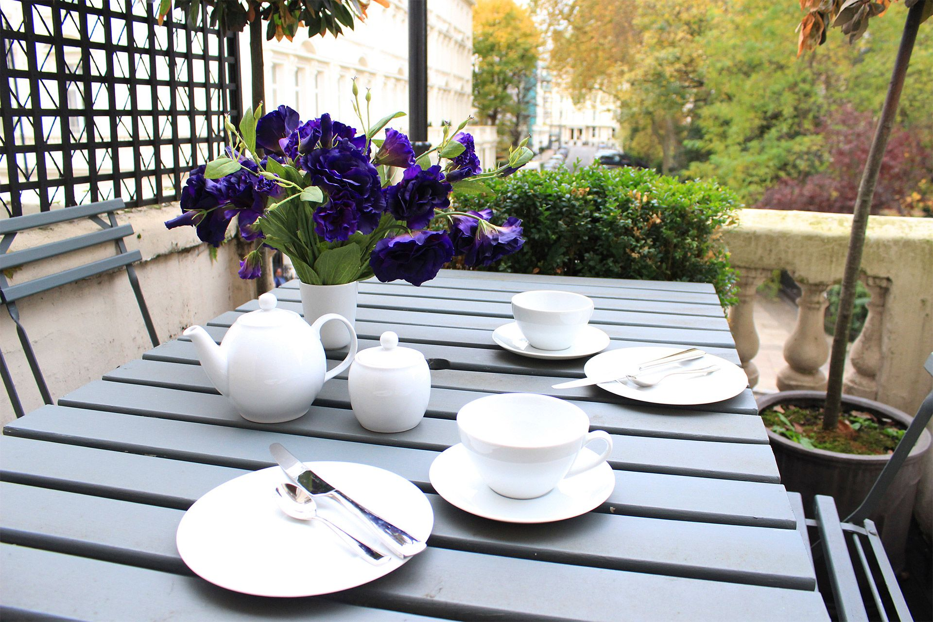 Balcony table set for afternoon tea in the Salisbury vacation rental offered by London Perfect
