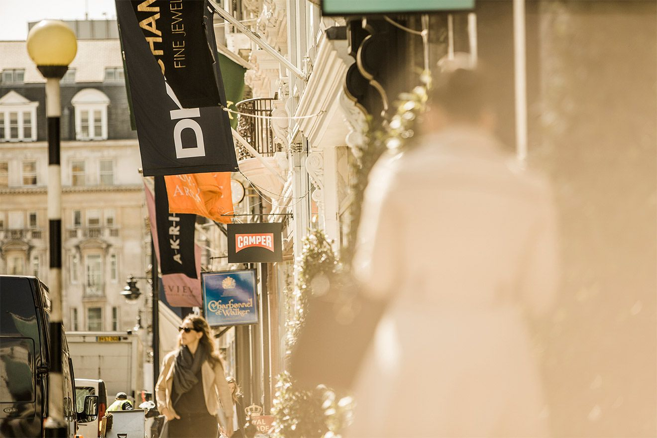 Chic designer shopping on Bond Street