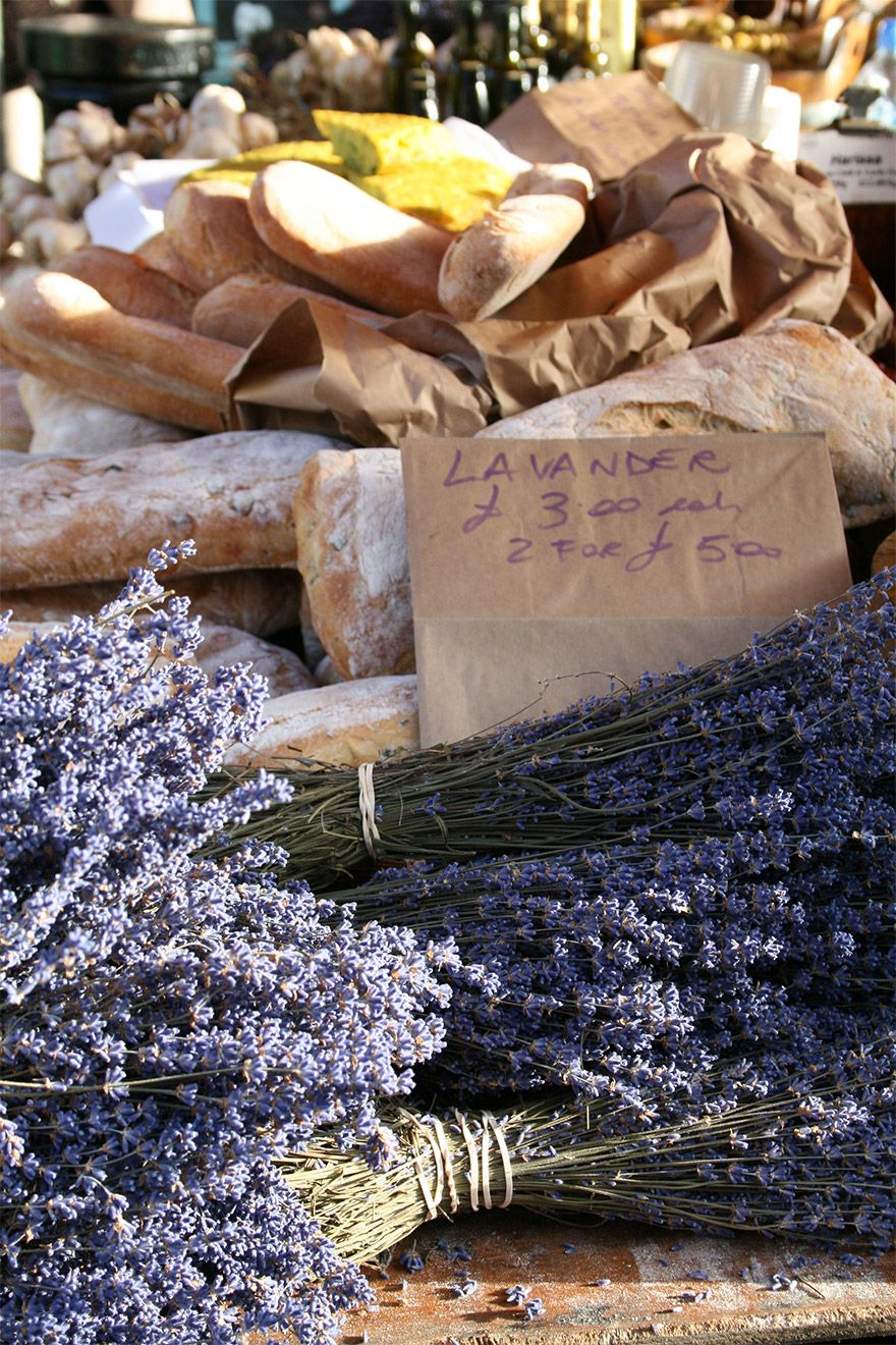Fresh baked bread and lavender in London market