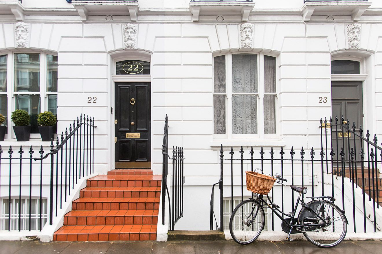 Bicycle outside house in Kensington London