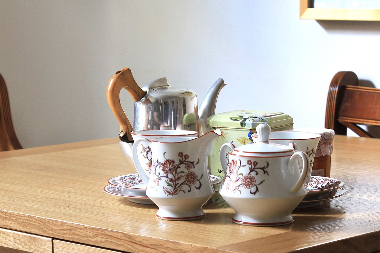 Tea set in bright kitchen of the Christchurch vacation rental offered by London Perfect