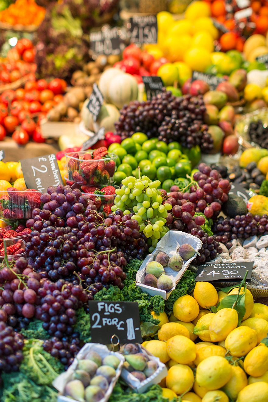 Fresh fruit and vegetables at a local London market