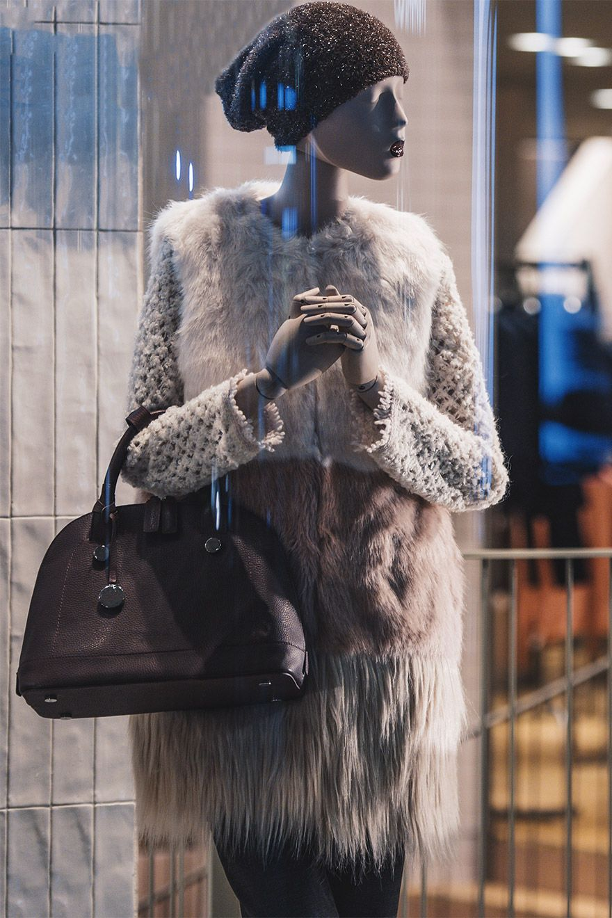 Shop window with designer London fashion