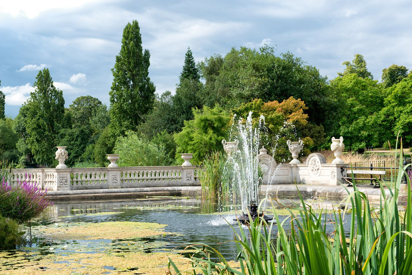 The charming Italian gardens in Hyde Park