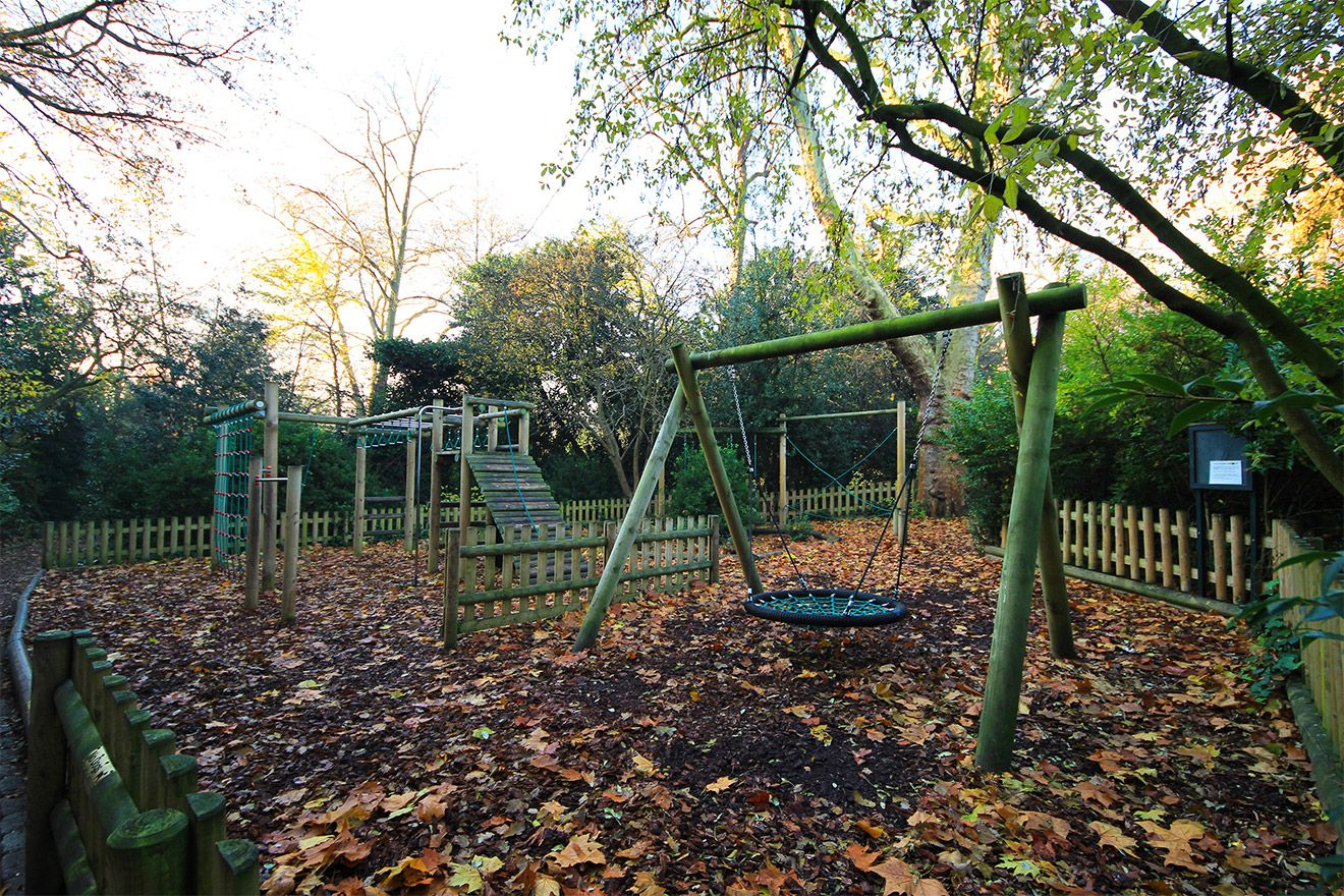 Playground in the local park of the Leicester vacation rental offered by London Perfect