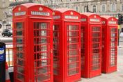 The iconic red phone booths in London