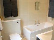 Fully remodelled bathroom with bathtub, shower, sink and toilet
